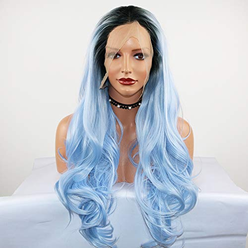 Fantasy Beauty Dark Root Ombre Pastel Blue Heat Resistant Fiber Hair Long Nature Wave Light Blue Synthetic Lace Front Wigs ()