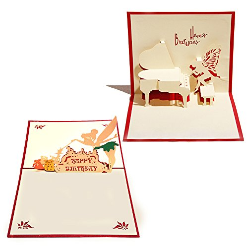 3D Birthday Pop Up Cards and Envelopes - Set of 2 Funny Unique Pop Up Greeting Cards Gift for Birthday saying Happy Birthday. Tinkerbell Piano Box Gifts -