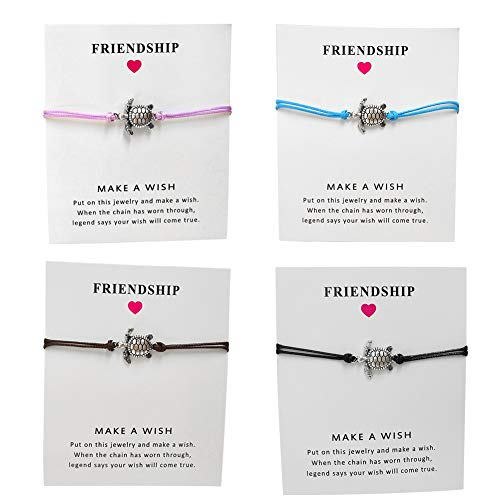 Tiande 4 pcs Tree of Life Turtle World Map Infinity Rope Card Make a Wish Bracelet Thank You Friendship Bracelet Gift Card - ()