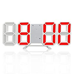 3D Digital Alarm Clock,Wall LED Number Time Clock with 3 Auto Adjust Brightness Levels,Led Electronic Clock with Snooze Function,Modern Night Light Clock Date,Temperature Display (Red)