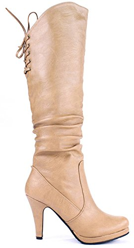 Lace Platform Boots Knee Up Sexy 5 High Stiletto JJF Shoes Taupe Win40 8 Slouch Wwx0fXqFqA