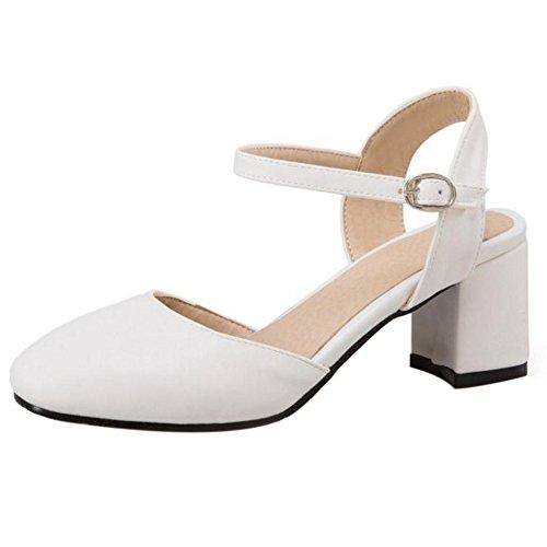 Fwzqynb Moda Abierto Razamaza Ancho Tobillo Talon Tacon Mujer Blanco Correa Zapatos Punta Abirta De 5LR4j3A