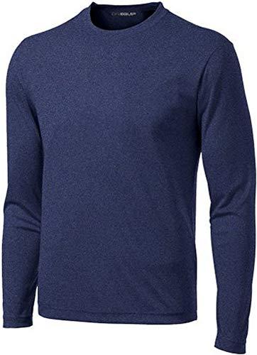 DRI-Equip Long Sleeve Moisture Wicking Athletic Shirt-Medium-NavyHeather