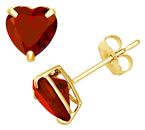 Simulated Red Garnet Heart Shape Stud Earrings In 14K Yellow Gold Over Sterling Silver (4 Ct)