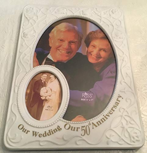 (Retro Russ 50th Anniversary Porcelain Picture Frame - 2 Photo Display)