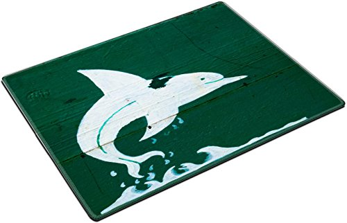 MSD Place Mat Non-Slip Natural Rubber Desk Pads design 30260274 White Dolphin painted onto Green Boat (Painted Dolphin)