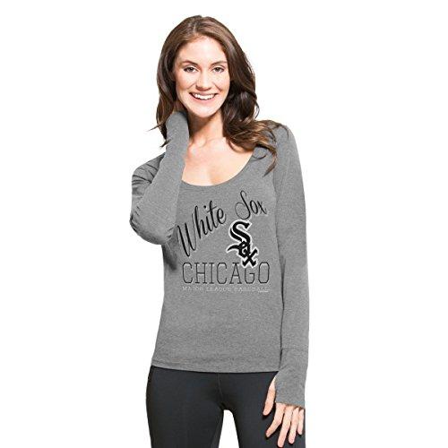 MLB Chicago White Sox Women's '47 Dash Long Sleeve Tee, Medium, Shift Grey (Tee White Sox)