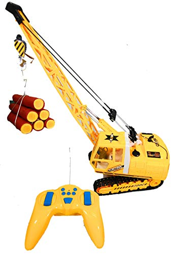 Heavy Cranes Remote Control Crane, Battery Powered 8 Way Radio Control Construction Timber Crane with Lights & -