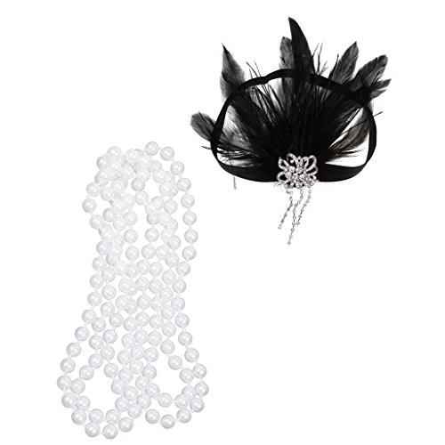 Dovewill Retro Carnival Long White Pearl Necklace Charleston Flapper Gatsby Rhinestone Headband 1920s Headpiece Girls Costume Dress Up Props -