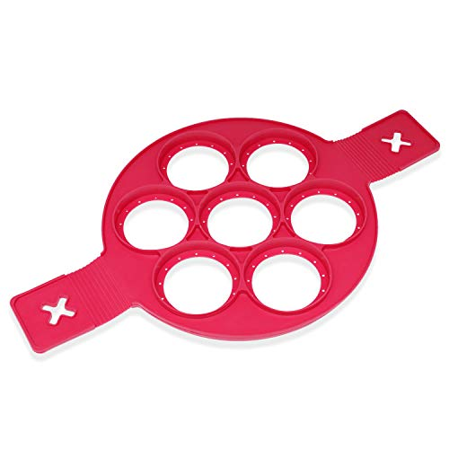 Silicone Pancake Mold Flipper Egg Rings (Red - 7 Round) ()
