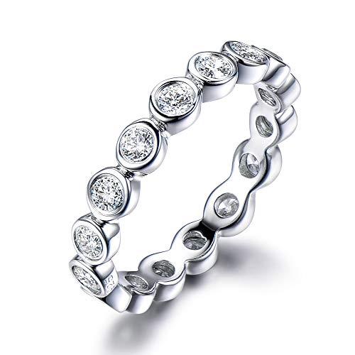 14k White Gold Full Eternity CZ Cubic Zirconia Diamond Wedding Band Engagement Ring Bezel Set Matching
