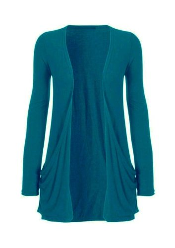 Hot Hanger Ladies Plus Size Pocket Long Sleeve Cardigan 16-26 : Color – Teal : Size – 16-18 LXL