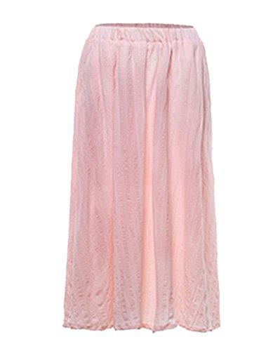 Tour Maxi Jupon Femme avec Lin Plisse Jupe Longue Jupe Taille en Pure Et Longue Rose Couleur Bohme De Cheville Elastique q84Oqfz