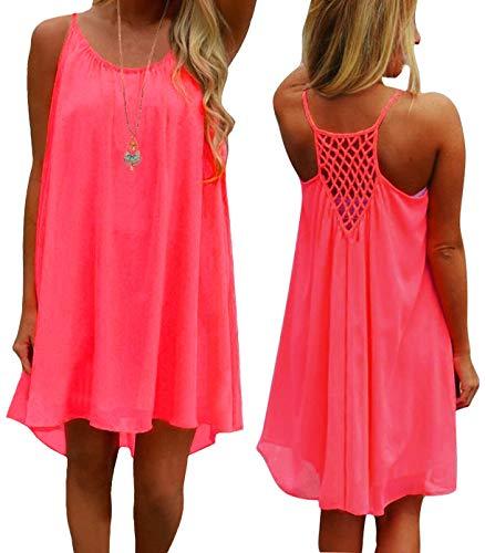 iToolai Women Casual Chiffon Tank Beach Cover up Sun Dress(Fluorescent Pink,M)