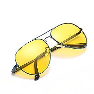 HD Night Vision Glasses for Driving Yellow Lens Aviator Antiglare Cloudy/Rainy/Foggy Day Nighttime Sunglasses