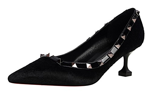 T&Mates Womens Fashion Sexy Pointy Toe Stiletto Middle heeld Pumps Rivet Studded Pump Shoes (5.5 (Cute Construction Worker Costumes)