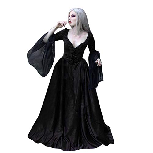 【MOHOLL】 Renaissance Gothic Patchwork Lace Sexy Deep V-Neck Dress Steampunk Vampire Halloween Costume Black