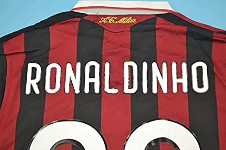 Amazon.com: Ronaldinho#80 AC Milan Home Soccer Jersey 2009 ...