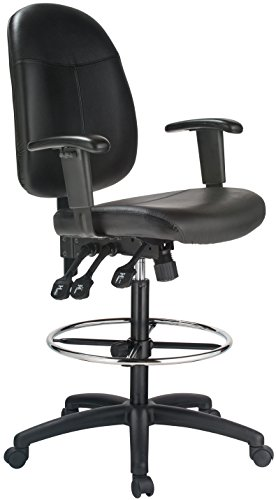 Harwick extended height black leather drafting chair with adjustable arms