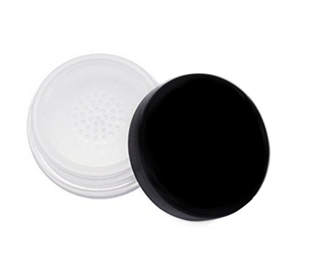 3Pcs 20ml Empty Clear Make-up Loose Powder Container Case with Sponge Powder Puff Screw Lid and Sifter Foundation Box (Black Lid)