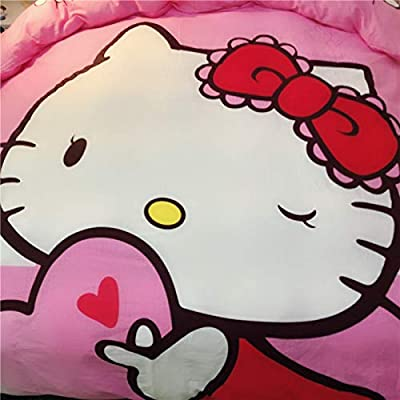 Casa 100% Cotton Kids Bedding Set Girls Hello Kitty Duvet Cover and Pillow Cases and Fitted Sheet,4 Pieces,Queen: Home & Kitchen