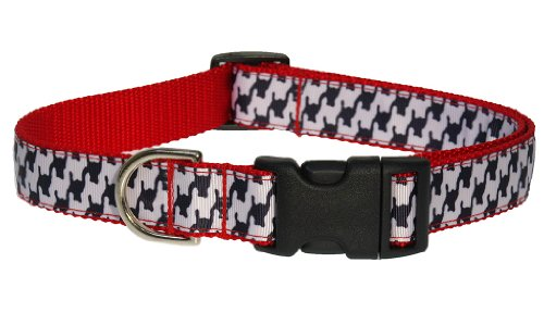 (Sassy Dog Wear 10-14-Inch Black/White Houndstooth Dog Collar, Small)