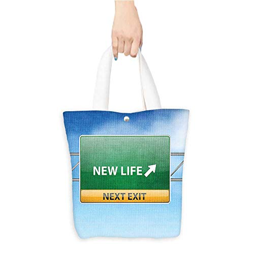Canvas Tote Bag Going Away Party Decorations New Life Concept with Road Sign on Blue Sky Next Exit Blue Green Yellow (W15.75 x L17.71 Inch)