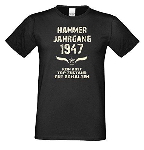 Geburtstags-Geschenk T-Shirt Herren Übergrößen Hammer Jahrgang 1947 Präsent zum 70. Geburtstag Freizeitlook Männer Farbe: schwarz Gr: 4XL