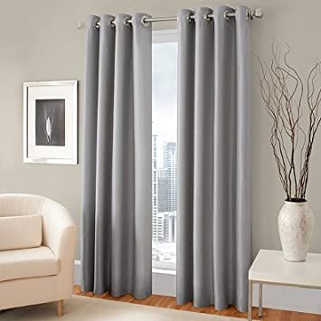 Curtains Ideas curtain panels 72 length : Amazon.com: Gorgeous Home (#72) 1 PANEL SOLID SILVER GRAY THERMAL ...