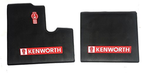 Kenworth OEM Black Rubber Floor Mats w/Logo Fits All T600 T800 W900 Model Years up to 2000 Model - All-Weather/Terrain