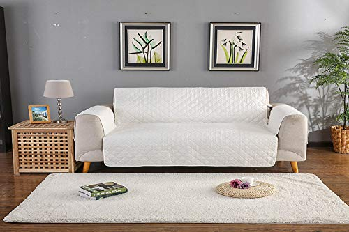 (EPHVODI Washable Furniture Cover Slipcovers Quilted Upgrade Anti-Slip Couch Covers with Elastic Strap,Single/Two/Three Seater Sofa Cover(White,3 seaters))