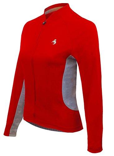 - MUTEKI Women's S.P.E.E.D. Long Sleeve, Full Zipper Cycling Jersey (Large, Red)