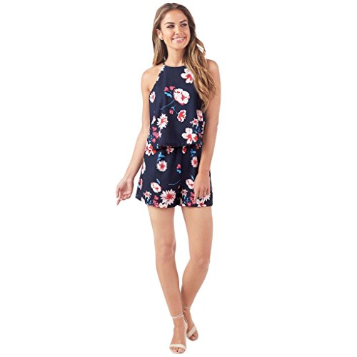 Mud Pie Women's Fashion Moonlight Garden Palmer Romper (Large) Navy