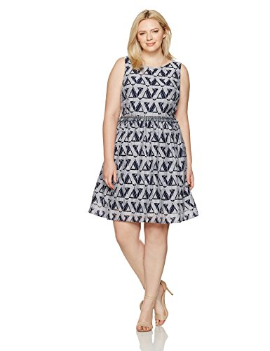 Julia Jordan Women's Plus Size One Piece Round Neck Printed Fit and Flare, Navy/White, 20W by Julia Jordan