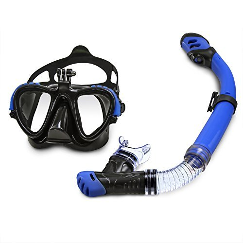 Silicone Professional Snorkel (Dolfino Pro Capture Silicone Mask Snorkel Combo Dual Lens Tempered Glass Go Pro Compatible Goggles, Blue)