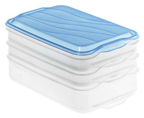 Rotho 1702806644 Stapelbox Foodcenter RONDO, 3-teilige Vorratsbox aus Kunststoff in transparent/ blau, Inhalt 2 x 0,75 Liter, 1x 1,35 Liter, ca 23,5 x 15,5 x 11,5 cm