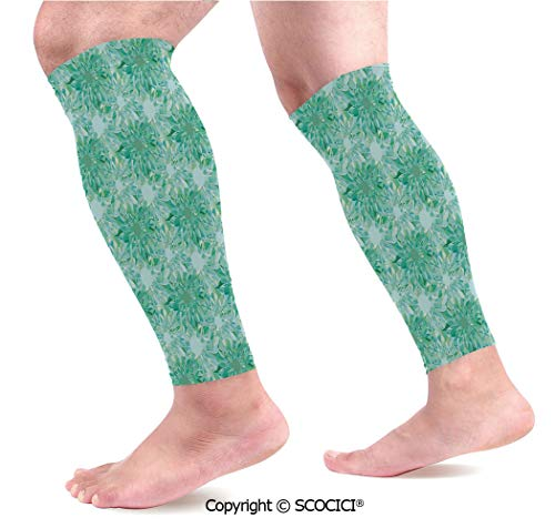 Flexible Breathable Comfortable Leg Skin Protector Sleeve Floral Pattern with Beryl Crystal Guilloche Flowers Carving Art Decorating Image Print Calf Compression Sleeve