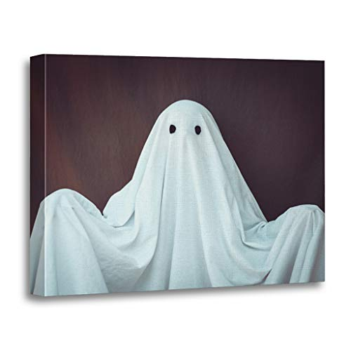 Emvency Painting Canvas Print Wooden Frame Artwork Costume White Ghost on Gray Halloween Holiday Bad Party Decorative 24x32 Inches Wall Art for Home Decor for $<!--$69.80-->