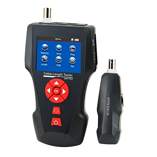 Digital Cable Length Tester for RJ45 RJ11 BNC Coax Telephone Multi Function Handheld Network Cable Tester Error Detector PING POE Function by Gain Express