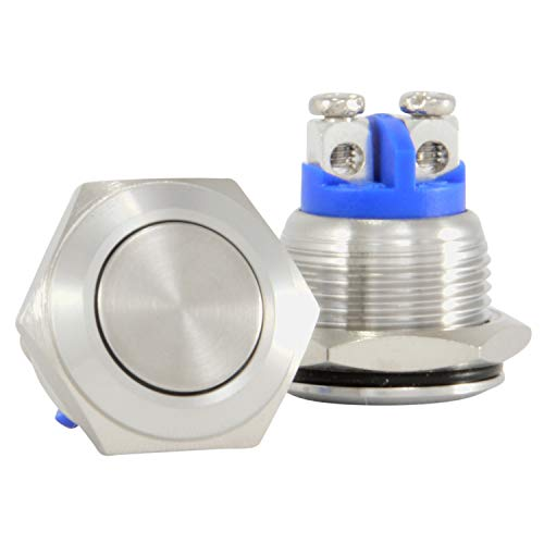 JacobsParts Momentary Pushbutton Starter Switch Circular Stainless Steel Metal Silver fits 5/8