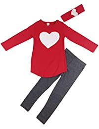 Kids Girl Cute 2PCS Heart Shaped Clothing Set Long Sleeve Top +Leggings