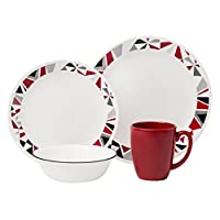 Corelle Livingware 16-Piece Dinnerware Set, Mosaic Red, Service for 4