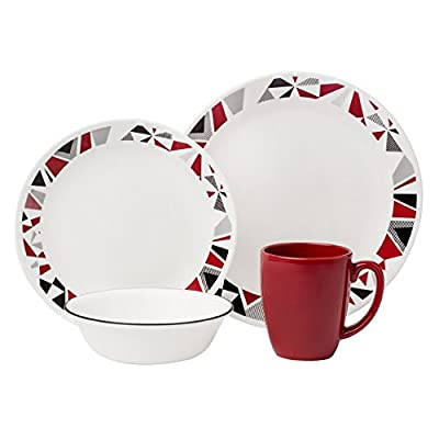 "Corelle Livingware 16-Piece Dinnerware Set, Mosaic Red, Service for 4 - Service for 4 includes: 4 each 10-1/4"" Dinner Plates, 6-3/4"" Bread and Butter Plates, 18-Ounce Soup/Cereal Bowls, 11-Ounce Stoneware Mugs Made with break and scratch resistant patented Vitrelle glass technology Space saving design: lightweight and thin, yet extremely durable - kitchen-tabletop, kitchen-dining-room, dinnerware-sets - 41rf7K%2BOc9L. SS400  -"
