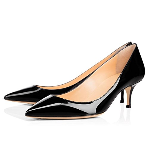 ELASHE Women Kitten Heels Pumps | Pointed Toe Stiletto | 6.5cm Classic Court Shoes 1#Black 1R1jSzS