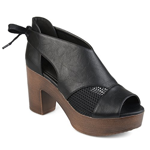 Journee Collection Womens Open Toe Tie Back Platform Clogs Black