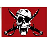 Crimson Pirate Flag from SoCal Flags® 3×5 Foot Polyester – Sold by A Proud American Company – Durable 100d Material Not See Thru Like Other Brands – High Quality Weather Resistant Review