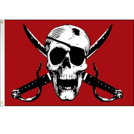 Crimson Pirate Flag from SoCal Flags® 3x5 Foot Polyester -