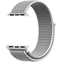 Robotekno Apple Watch Kordon Dokuma Sport Loop 42mm 44mm, Hasır Kayış 1 | 2 | 3 | 4 | 5 (42mm/44mm, Gri)