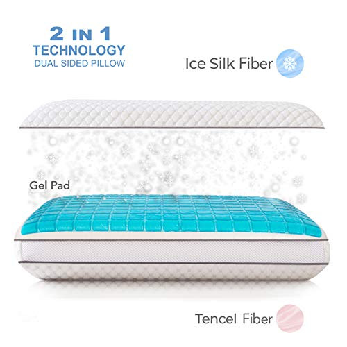 wavveUziz Ventilated Gel Cooling Memory Foam Pillow for Sleeping Cool with Washable Zippered Cover, Standard Size