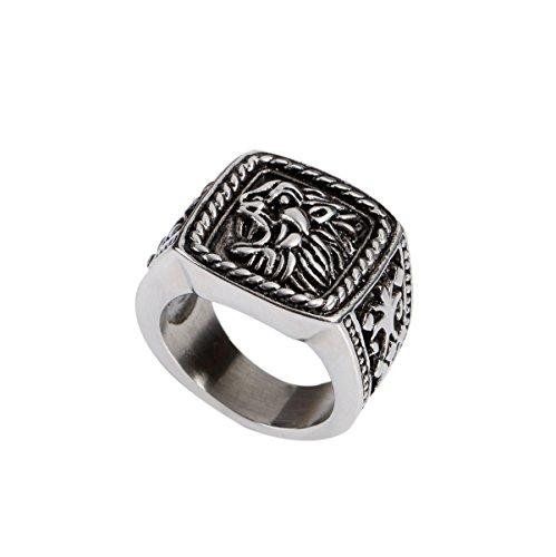 Stainless Steel Biker Roaring Lion King Men's Ring, Vintage Silver Black